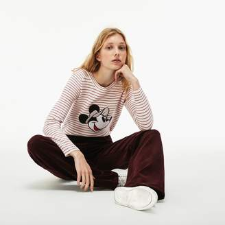 Lacoste Women's Crew Neck Disney Minnie Embroidery Interlock Sweater