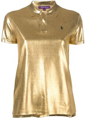 Ralph Lauren silk lamé polo top