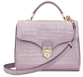 Aspinal of London Midi Mayfair Bag In Deep Shine Lilac Small Croc