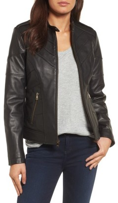 Women's Catherine Catherine Malandrino Chevron Seam Leather Jacket