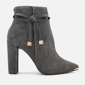 Ted Baker Women's Qatena Suede Heeled Ankle Boots - Charcoal