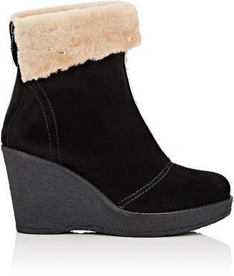 Mr & Mrs Italy Women's Suede & Shearling Wedge Ankle Boots