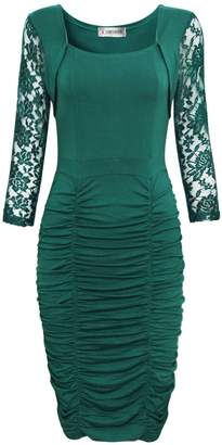 Toms Tom's Ware Womens Elegant Lace Long Sleeve Ruched Bodycon Midi Dress TWCWD130--CA