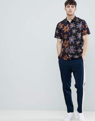 Paul Smith casual fit floral short sleeve shirt in black