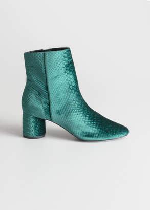 And other stories Velvet Snake Ankle Boots