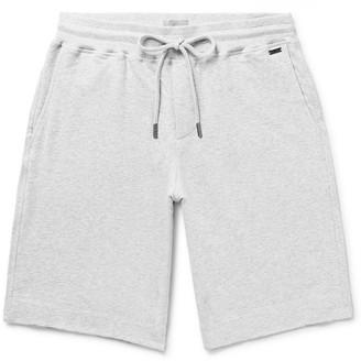Hanro Melange Fleece-Back Stretch-Cotton Jersey Drawstring Shorts