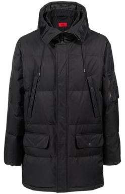 HUGO Boss Hooded down-filled jacket water-repellent outer XL Black
