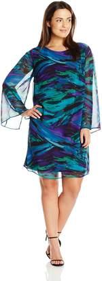 Amy Byer Women's Plus-Size Sheath In Rich Plus Size Brushstroke Print Long Sleeves with Slits Round Neckline Straight Hemline