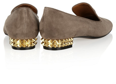 Fendi Studded suede loafers
