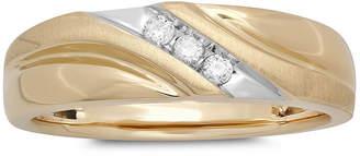 JCPenney MODERN BRIDE Mens 1/10 CT. T.W. Diamond 10K Yellow Gold 3-Stone Slant Ring