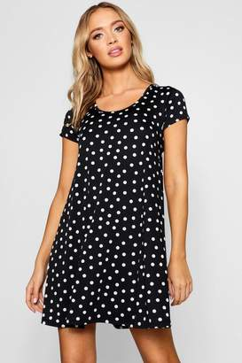 boohoo Keyhole Back Polka Dot Swing Dress