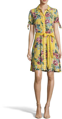 Label by 5Twelve Floral Tie-Waist A-Line Button-Down Dress