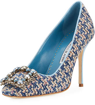 Manolo Blahnik Vazza 105mm Tweed Pumps with Jeweled Buckle Embellishment