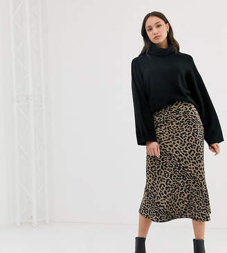 Asos Tall DESIGN Tall bias cut satin midi skirt in leopard print