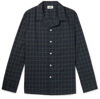 Sleepy Jones Henry Piped Black Watch Checked Cotton Pyjama Shirt