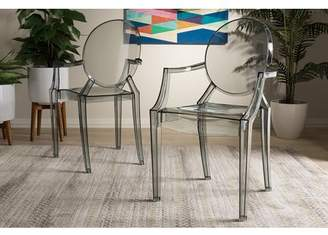 Baxton Studio Set of 2 Dymas Modern Smoke Acrylic Armed Ghost Chair