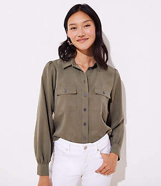 529f9dc75ffead Dark Green Button Shirts For Women - ShopStyle