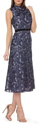 Kay Unger Sleeveless Embroidered Tea Length Dress