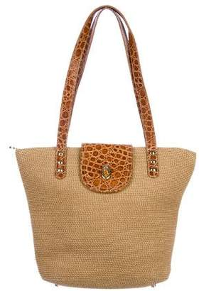Eric Javits Straw Leather-Trimmed Bag
