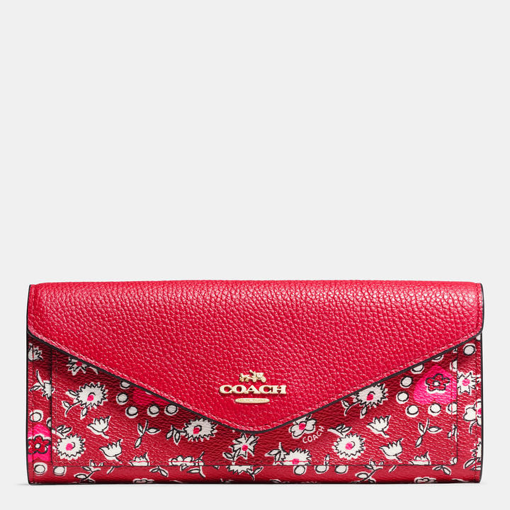 Coach   COACH Coach Soft Wallet In Wild Hearts Print Coated Canvas