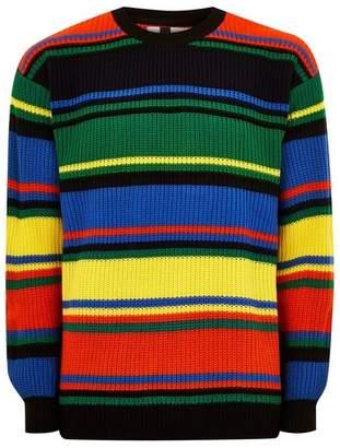 Topman Mens Multi Neon Rainbow Stripe Sweater