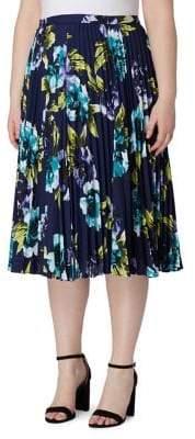 Tahari Arthur S. Levine Plus Floral Accordion Pleat Midi Skirt