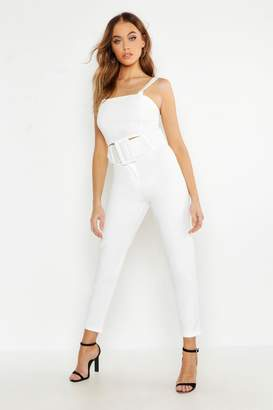 boohoo Woven Exaggerated Wide Belt Tapered Pants