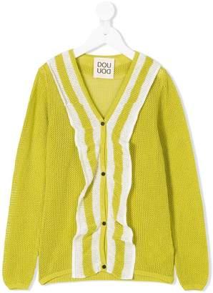 Douuod Kids striped ruffle-front mesh cardigan