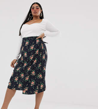 23254e037e Missguided Plus Exclusive satin wrap midi skirt in polka and floral print