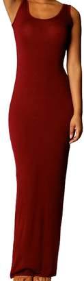 Astage Women & Girl Cotton Casual Tank Sleeveless Slim Long Maxi Beach Dress L