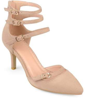 Brinley Co. Women's Pointed Toe Faux Suede Multi-strap High Heels
