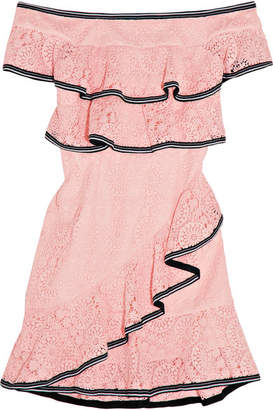 Rebecca Vallance Courtside Off-the-shoulder Ruffled Guipure Lace Mini Dress - Pastel pink