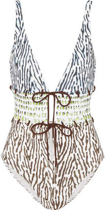Marios Schwab On The Island By Calypso Lace-up Printed Swimsuit - White