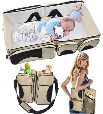 kunli Chuangsiyuan Baby 3 in 1 Portable Bassinet, Diaper Bag and Change Station with Fitted Sheet and Carabiner Keyring (Cream)