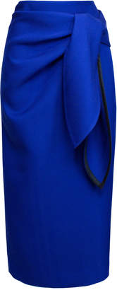 Lake Studio Tie-Front Wrap-Effect Twill Midi Pencil Skirt