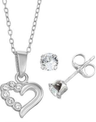 Swarovski Charming Sterling Silver Heart Pendant Stud Earring Set Made With Crystals