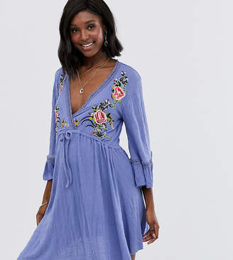 Asos DESIGN Maternity mini embroidered smock dress with ladder trim