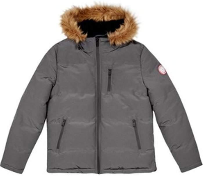 Womens **Burton Grey Birch Faux Fur Hooded Padded Jacket