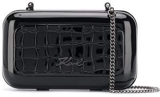 Karl Lagerfeld Paris K/Signature croco minaudiere clutch bag