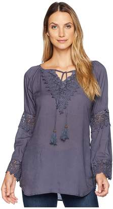 Scully Carrie Tie Front Blouse w/ Lace Crochet Insets Women's Clothing