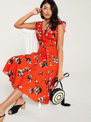 Wallis Butterfly Floral Midi Dress - Red