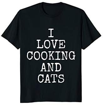 I Love Cooking And Cats Tee Shirts | Funny Kitty Cat T-Shirt