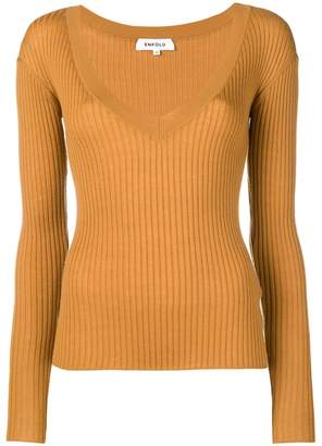 Enfold ribbed V-neck pullover