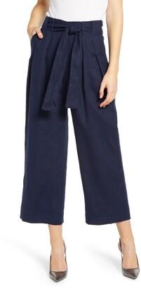 J.Crew Tie Waist Crop Wide Leg Linen Pants
