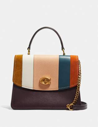 Coach Parker Top Handle With Patchwork Stripes