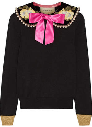 Gucci Embellished Cashmere And Silk-blend Sweater - Black