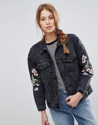 QED London Embroidered Denim Jacket