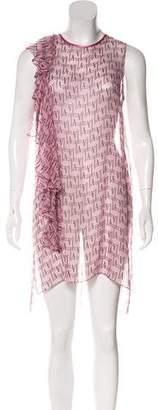 Thomas Wylde Ruffle Accent Silk Mini Dress