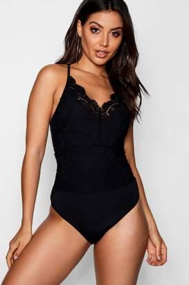 boohoo Lace Black Bodysuit