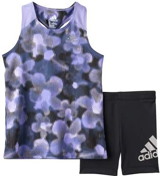 adidas Toddler Girl Floral Racer Tank Top & Bike Shorts Set